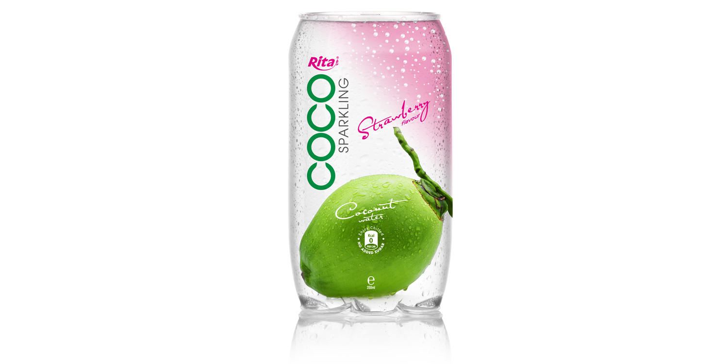 Sparking coconut water  with strawberry juice